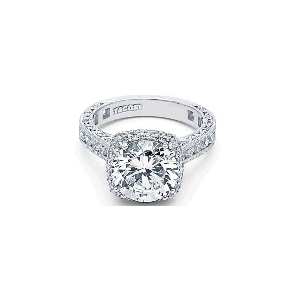 Tacori Royal T Round with Cushion Halo Engagement Ring Skaneateles Jewelry Skaneateles, NY
