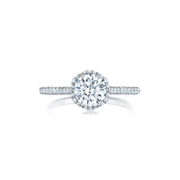 Tacori Petite Classic Crescent Floral Halo Engagement Ring Skaneateles Jewelry Skaneateles, NY