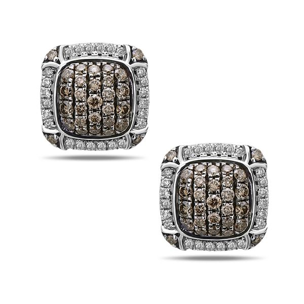 SS/14K WG Ladies 1.06ct TW Charles Krypell Pave Brown & White Diamond Earrings Skaneateles Jewelry Skaneateles, NY
