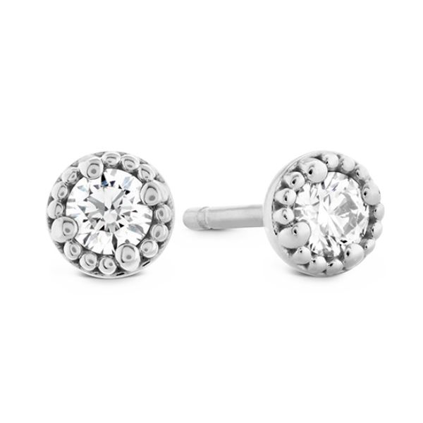 18K WG Ladies 0.24ct TW Hearts on Fire Liliana Milgrain Single Diamond Stud Earrings Skaneateles Jewelry Skaneateles, NY