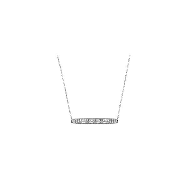 White Gold Pave bar 0.76ct TW