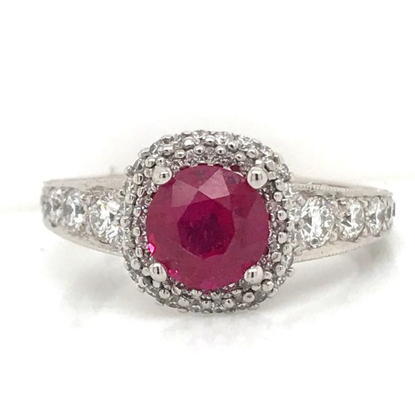 18K WG Ladies 2.18ct Tacori Crescent Double Halo Ruby & Diamond Ring Skaneateles Jewelry Skaneateles, NY