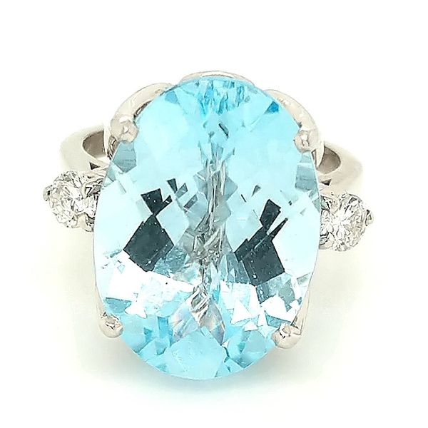 14K WG 16.60ct TGW Swiss Blue Topaz and Diamond Ring Skaneateles Jewelry Skaneateles, NY