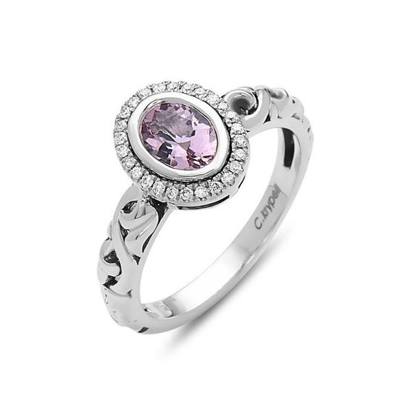 SS Ladies Charles Krypell Morganite & Diamond Halo Fashion Ring Skaneateles Jewelry Skaneateles, NY