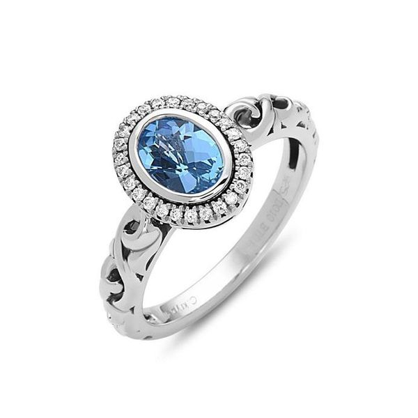 SS Ladies Charles Krypell Swiss Blue Topaz  & Diamond Halo Fashion Ring Skaneateles Jewelry Skaneateles, NY