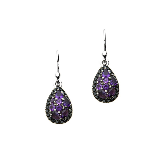 SS Ladies Charles Krypell Roxy Amethyst & Black Sapphire Earrings Skaneateles Jewelry Skaneateles, NY