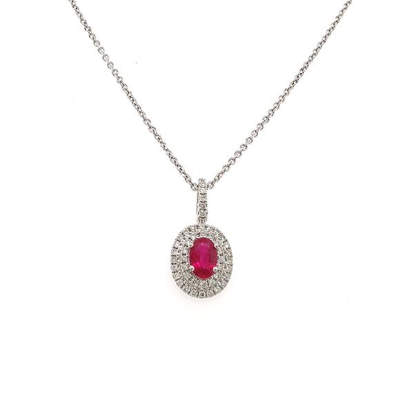 18KWG Oval Ruby and Diamond Pendant Skaneateles Jewelry Skaneateles, NY