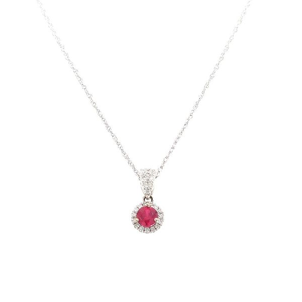 14kWG Ruby and Diamond Pendant Skaneateles Jewelry Skaneateles, NY