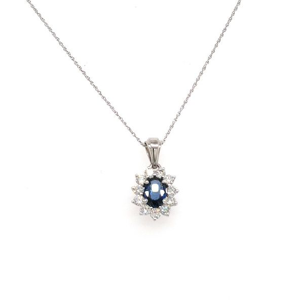 14K WG Ladies 1.24ct TW Sapphire & Diamond Pendant w/Chain Skaneateles Jewelry Skaneateles, NY