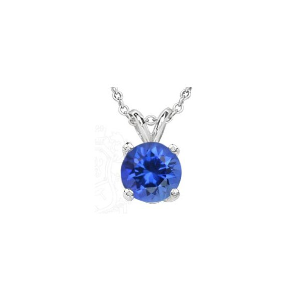 14KW Next Generation  Round Blue Sapphire Pendant with chain Skaneateles Jewelry Skaneateles, NY