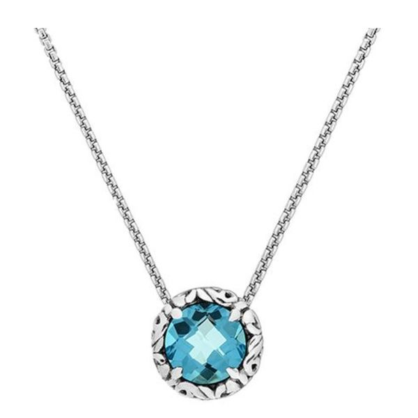 Charles Krypell Round Sky Blue Topaz Pendant with chain Skaneateles Jewelry Skaneateles, NY