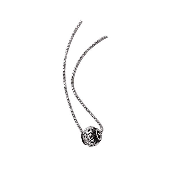 Charles Krypell Silver and Black Sapphire Bead Pendant with chain Skaneateles Jewelry Skaneateles, NY