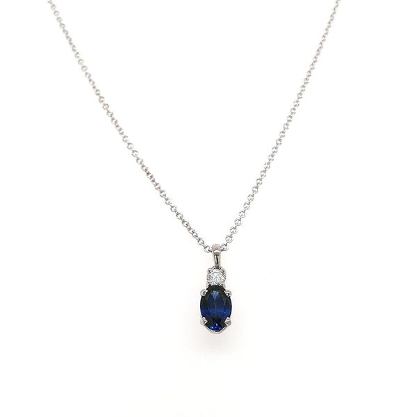 14KW Next Generation Oval Blue Sapphire and Diamond pendant with chain Skaneateles Jewelry Skaneateles, NY