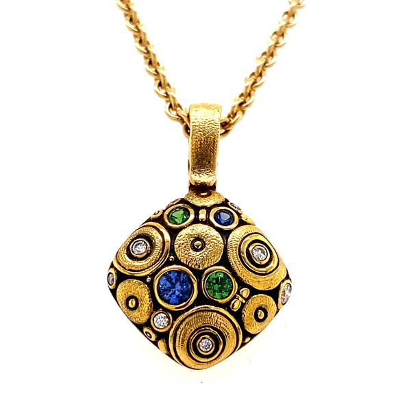 18KY Alex Sepkus Sapphire and Diamond Cushion Shaped pendant with chain Skaneateles Jewelry Skaneateles, NY