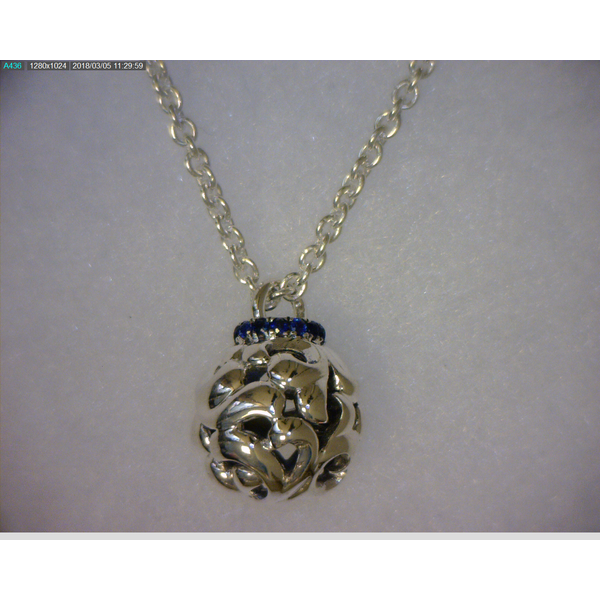 SS Ladies 0.22ct Blue Sapphire Bead Pendant w/Chain Skaneateles Jewelry Skaneateles, NY