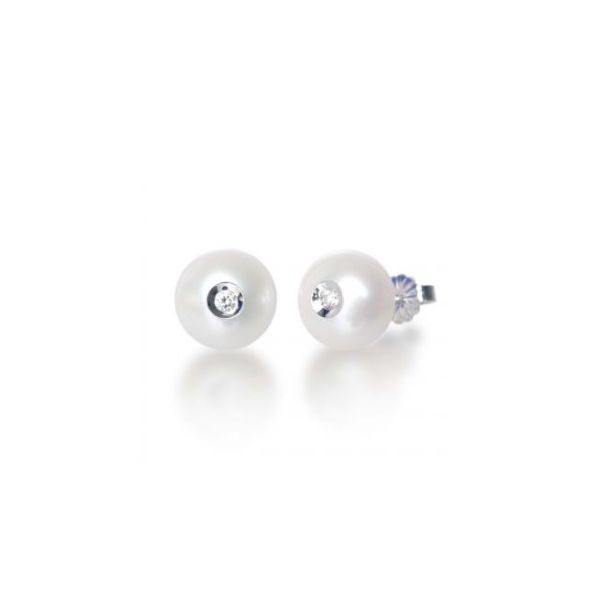 14K WG Ladies 0.08ct TW Galatea Diamond in White Pearl Earrings Skaneateles Jewelry Skaneateles, NY