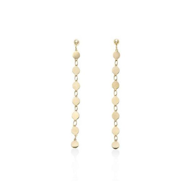 "14K YG Ladies ""Next Generation"" Single Strand Round Mirrored Fashion Earrings Skaneateles Jewelry Skaneateles, NY"
