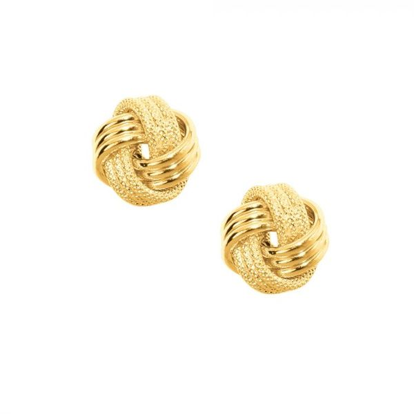 "14K YG Ladies ""Next Generation"" Textured 3 Row Celtic Love-Knot Earrings Skaneateles Jewelry Skaneateles, NY"