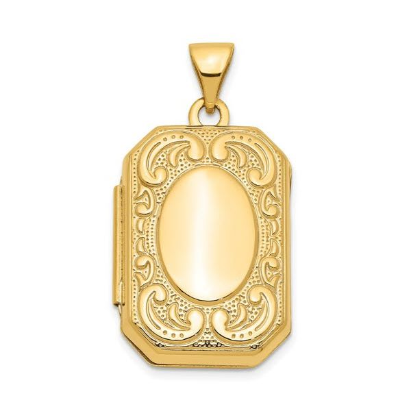 14K YG Rectangle Locket w/Chain Skaneateles Jewelry Skaneateles, NY