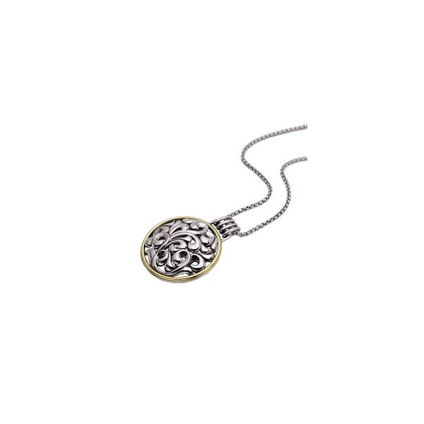 SS/18K YG Ladies Charles Krypell Circle Shaped  Pendant w/Chain Skaneateles Jewelry Skaneateles, NY