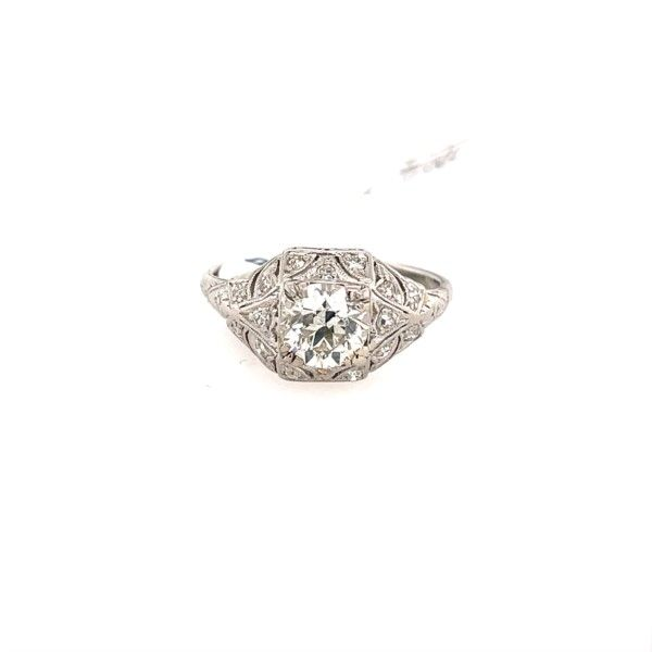 Platinum Vintage Diamond Engagement Ring 1.10ct center diamond Confer's Jewelers Bellefonte, PA