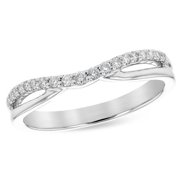 14k White Gold Curved Diamond Wedding Band Confer's Jewelers Bellefonte, PA