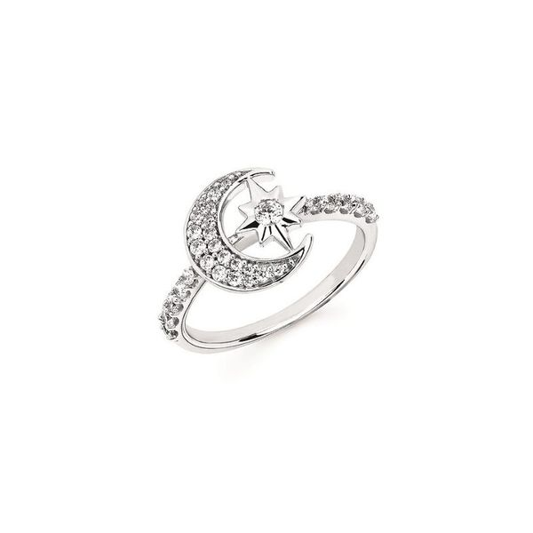 14k White Gold Moon and Star Ring Confer's Jewelers Bellefonte, PA