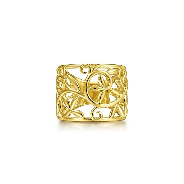 14k Yellow Gold Open Floral Wide Ring Confer's Jewelers Bellefonte, PA