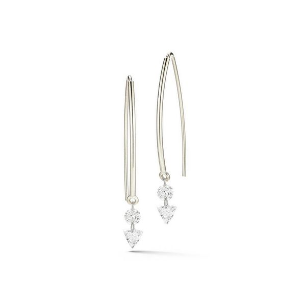 Threader Style Diamond Dangle Earring .56ctw 18K White Gold Confer's Jewelers Bellefonte, PA