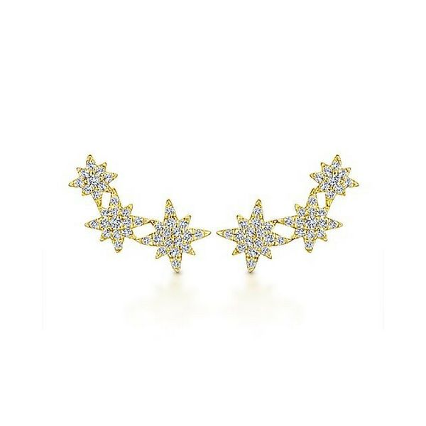 Gabriel NY .42 CTW Diamond Triple Star Burst Earrings 14K Yellow Gold Confer's Jewelers Bellefonte, PA