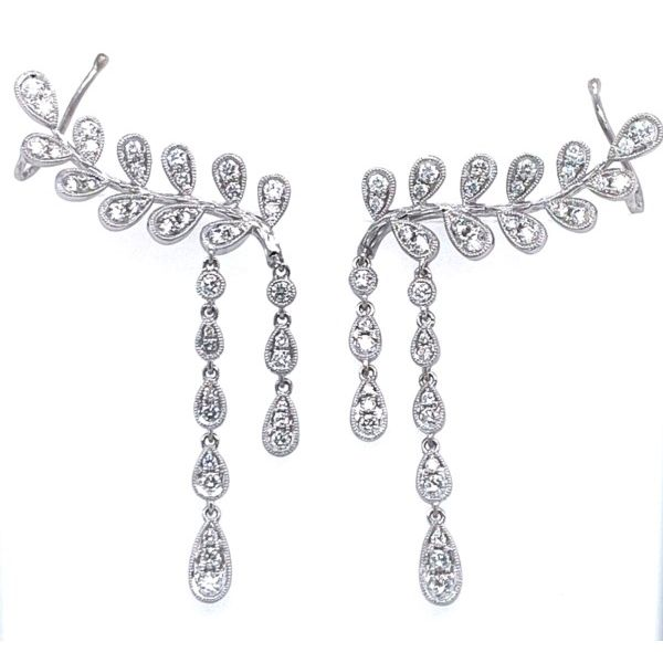18K White Gold Diamond Ear Climbers Confer's Jewelers Bellefonte, PA