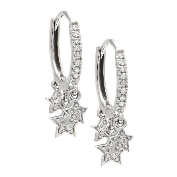 White Gold Star Hoop Single Micro Pave Diamond Earrings Confer's Jewelers Bellefonte, PA
