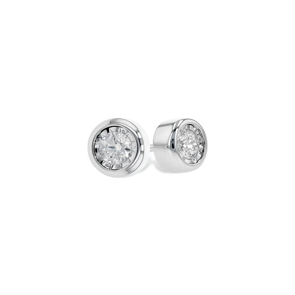 14k White Gold Bezel Set Diamond Stud Earrings Confer's Jewelers Bellefonte, PA