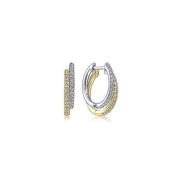 14K Yellow-White Gold Layered 15mm Diamond Huggies Confer's Jewelers Bellefonte, PA
