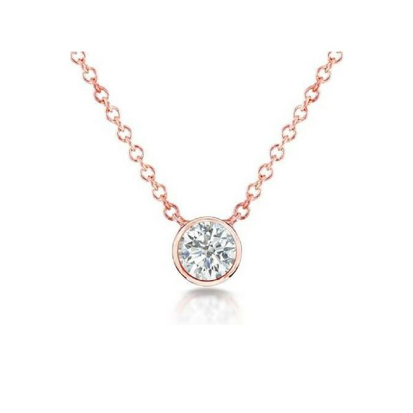 14k Rose Gold Round Bezel Set Diamond Pendant Confer's Jewelers Bellefonte, PA