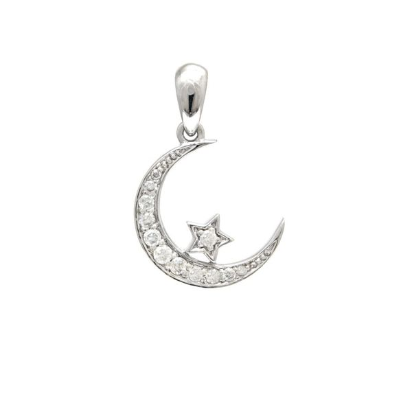 Moon and Star Diamond Pendant Necklace Confer's Jewelers Bellefonte, PA