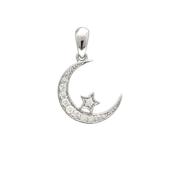 14K White Gold Diamond Star and Moon Pendant Confer's Jewelers Bellefonte, PA