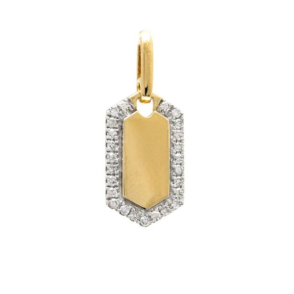 Yellow Gold and Diamond Dog Tag Pendant Confer's Jewelers Bellefonte, PA