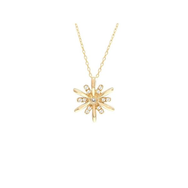 Diamond Star Burst Necklace 14K Yellow Gold Confer's Jewelers Bellefonte, PA