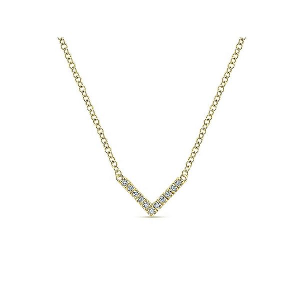 14K Yellow Gold V Shaped Diamond Bar Necklace Confer's Jewelers Bellefonte, PA