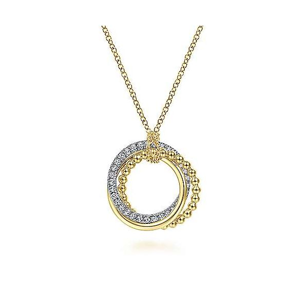 14K Yellow-White Gold Interlocking Circles Pendant Necklace with Diamond Pave Confer's Jewelers Bellefonte, PA