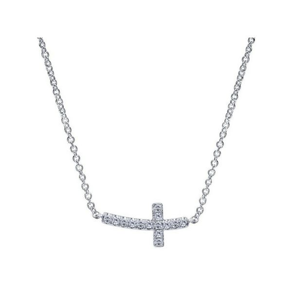 14K White Gold Sideways Curved Diamond Cross Necklace Confer's Jewelers Bellefonte, PA