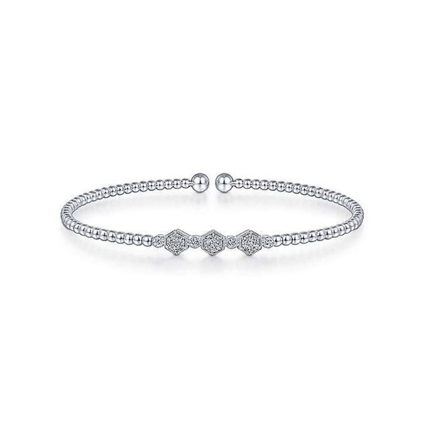 14K White Gold Gabriel & Co. Bujukan Bead Cuff Bracelet with Cluster Diamond Hexagon Stations Confer's Jewelers Bellefonte, PA