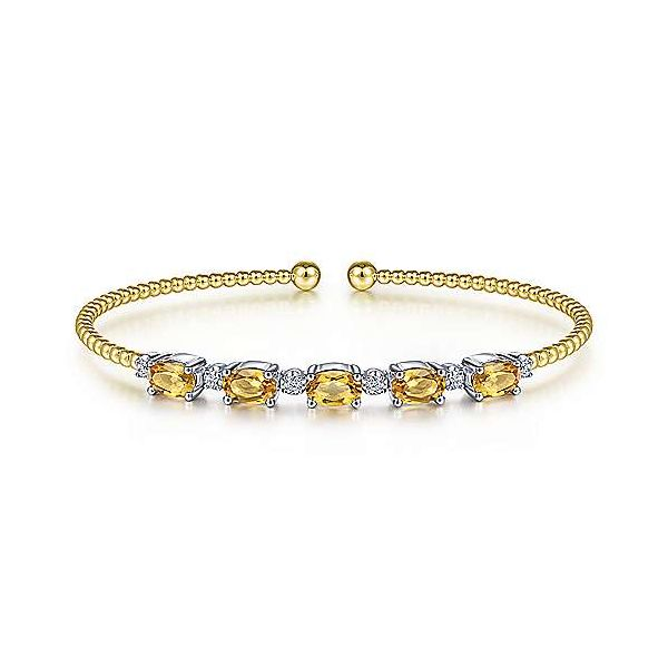 14K White-Yellow Gold Bujukan Bead Cuff Bracelet with Citrine and Diamond Stations Confer's Jewelers Bellefonte, PA
