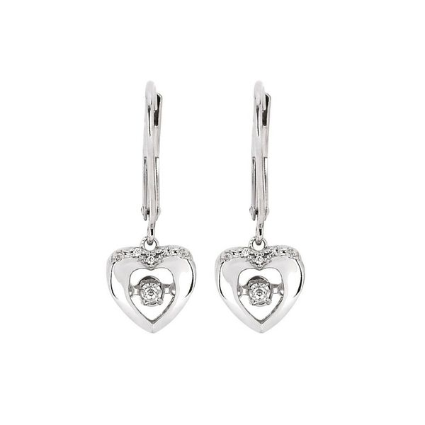 Sterling Silver .03ctw Dancing Diamond Heart Earrings Confer's Jewelers Bellefonte, PA