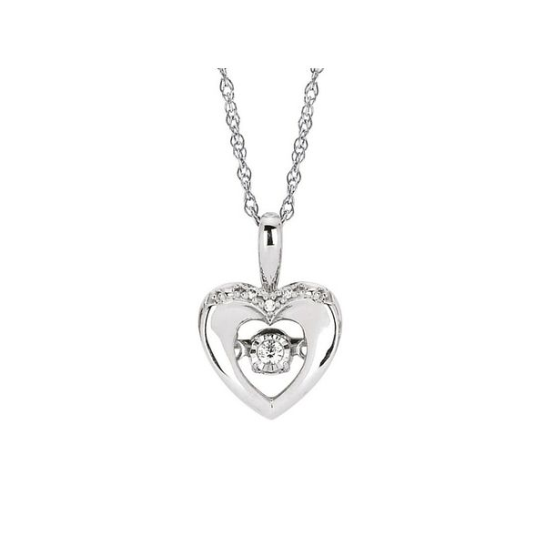 Sterling Silver Dancing Diamond Heart Pendant Confer's Jewelers Bellefonte, PA