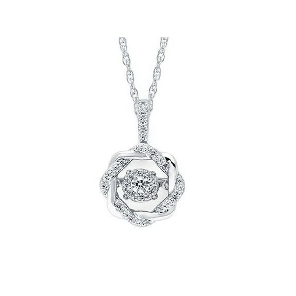 Sterling Silver Circular Dancing Diamond Pendant Confer's Jewelers Bellefonte, PA