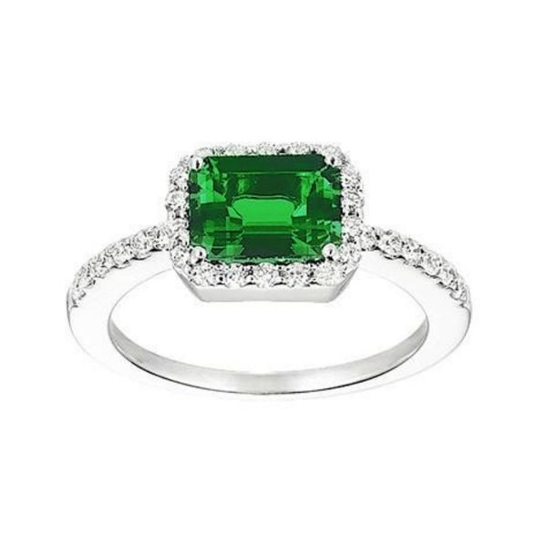 14K Gold Lab Grown Emerald & Diamond Ring Confer's Jewelers Bellefonte, PA
