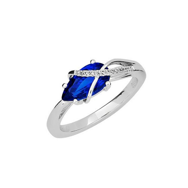 14K Gold Lab Created Blue Sapphire & Diamond Ring Confer's Jewelers Bellefonte, PA