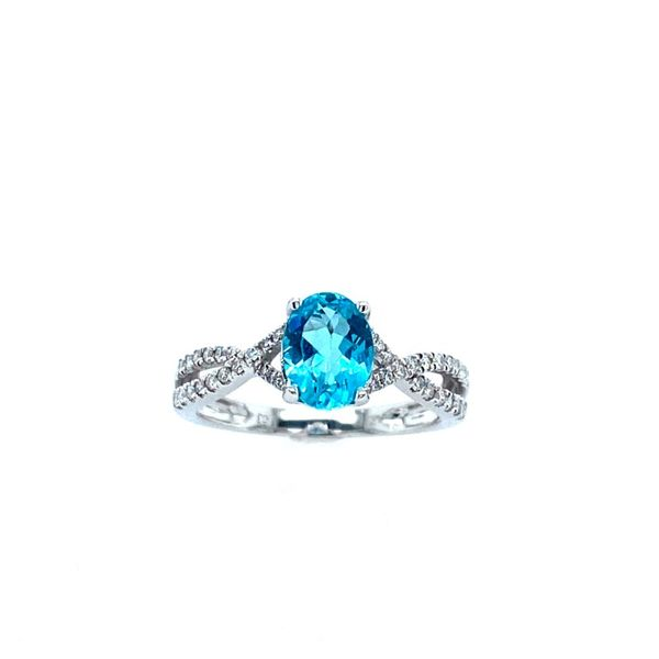 White Gold Apatite and Diamond Ring Confer's Jewelers Bellefonte, PA